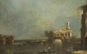 Picture landscape, oil, canvas, Francesco Guardi, Francesco Guardi, 1800, Laguna in Venice