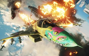 Picture the explosion, fighter, Microsoft, game, Just Cause 4
