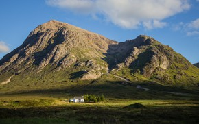 Picture summer, the sky, light, trees, landscape, mountains, nature, house, rocks, hills, tops, Scotland, green, shadows, …