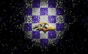 Picture wallpaper, sport, logo, NFL, glitter, checkered, Baltimore Ravens