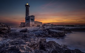 Picture lighthouse, Italy, Sicily, Augusta