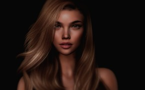 Picture girl, face, rendering, hair