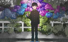 Picture flowers, rain, umbrella, guy, Mob Psycho 100, Kageyama Shigeo, Mob psycho 100