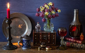 Picture flowers, glass, books, candle, mug, vase, drink, still life, daffodils, dish, bottle, chest, grouse