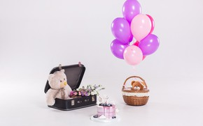 Wallpaper holiday, toys, cake, Baby, cake, bear, teddy, child, purple, balloons, Birthday