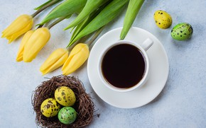 Picture flowers, Easter, tulips, happy, yellow, flowers, tulips, coffee cup, Easter, eggs, a Cup of coffee, …