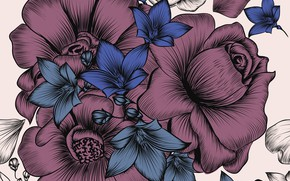 Picture white, flowers, background, wallpaper, vintage, pattern, floral