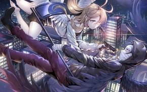 Picture girl, gun, braid, guy, two, Angel bloodshed, Satsuriku no Tenshi