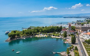 Picture lake, home, boats, Switzerland, Lausanne