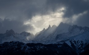 Picture winter, the sky, clouds, snow, trees, mountains, clouds, nature, rocks