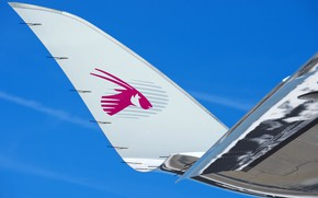 Picture The plane, Liner, Airbus, Qatar Airways, Airbus A350-900, A passenger plane, Airbus A350 XWB, Winglet, …