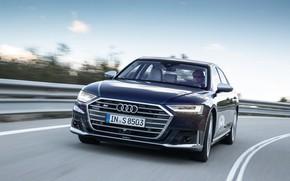 Picture blue, Audi, sedan, Audi A8, Audi S8, four-door, 2020, 2019, V8 Biturbo