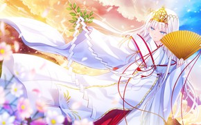 Wallpaper the sky, girl, flowers, the game, dance, the evening, morning, fan, kimono, Anime, tree branch