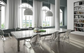 Picture interior, library, dining room, приглушенные оттенки серого, Sensa Colonial White Ambiente