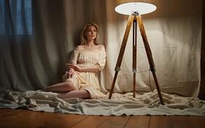 Picture look, girl, light, pose, room, on the floor, Sergey Fat, Irina Klimenko