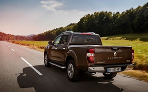 Picture markup, shadow, Renault, brown, rear view, pickup, 4x4, 2017, Alaskan