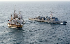 Picture French Navy, 32 gun sailing frigate class Concorde, The Frigate Hermione, Marine Nationale, Destroyer type …
