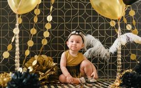 Picture background, balls, dress, girl, bow, Baby, baby, Child, Birthday, Kids, Balloon