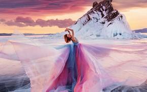 Picture winter, girl, pose, rock, ice, dress, lake Baikal, Kristina Makeeva