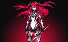 Picture girl, fantasy, armor, red hair, weapon, Warrior, red eyes, digital art, artwork, swords, fantasy art, …