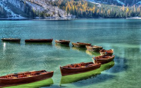 Picture landscape, mountains, nature, lake, boats, Italy, forest, The Dolomites, The lake of Braies, Braies