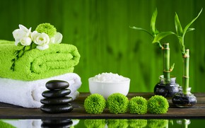 Picture flowers, stones, bamboo, relax, towels, spa, bath salt