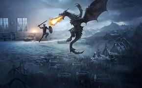 Wallpaper mountains, flame, dragon, fight, Skyrim