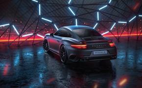Wallpaper 911, Porsche, Neon, Machine, Grey, Porsche 911 Turbo, Rendering, Turbo S, Porsche 911 Turbo S, ...