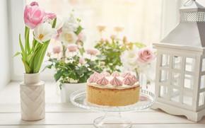 Picture flowers, cake, vase, decoration, decor