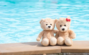 Wallpaper sea, beach, love, toy, bear, bear, pair, love, two, beach, bear, romantic, couple, teddy, cute