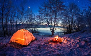 Picture winter, the sky, stars, snow, lake, the evening, the fire, tent, sleigh, glowing, leisure activity, …