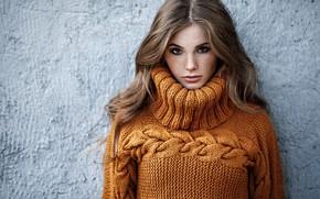 Picture look, Girl, hairstyle, sweater, Alexey Starski, Anya Fedotova