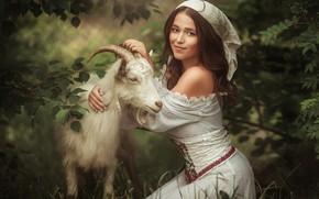 Picture girl, goat, Алина Иванова