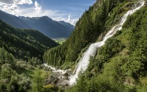 Picture mountains, waterfall, Austria, Alps, Stuibenfall