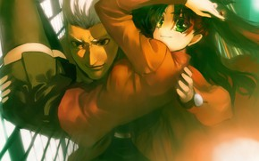Picture look, girl, guy, two, Rin, Archer, Fate stay night, Fate / Stay Night