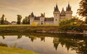 Wallpaper the sky, water, the sun, trees, reflection, river, castle, France, home, Chaumont Castle