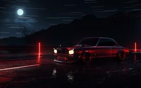 Picture Auto, Night, The moon, Machine, Car, Need for Speed, Skyline, Neon, Nissan Skyline, Retro, Sportcar, …