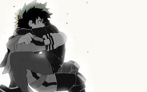 Picture background, art, hugs, guys, My Hero Academia, Boku No Hero Academy, Midori Isuku, My Hero ...