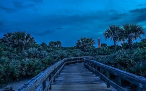 Picture lighthouse, the evening, FL, USA, flooring, Ponce Inlet