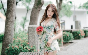 Picture flower, look, sexy, hair, Asian, dress