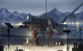 Picture sea, cat, snow, girls, boat, ears