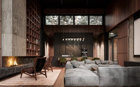 Picture design, furniture, fireplace, the room, decanter