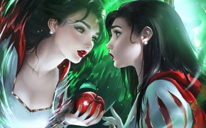 Picture apple, anime, disney, reflection, mirror, anime girl, tale, magic mirror, childish story, snow White