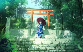 Picture greens, girl, umbrella, ladder, yukata