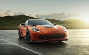 Picture road, the sun, light, orange, Chevrolet, Chevrolet, The Corvette Z06, Chevrolet Z06