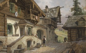 Wallpaper 1935, Georg Janny, George Gianni, Austrian painter, Village street in the Alps, Village road in ...