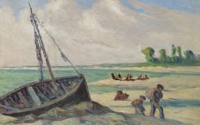 Picture picture, seascape, 1929, Maximilien Luce, Maximilien Luce, Outskirts Of Le Tréport. The barque on the …