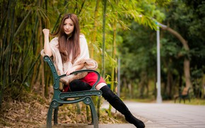 Picture look, Park, bench, hair, Asian