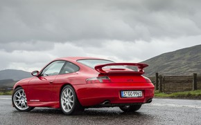 Picture Red, Road, Sportcar, Porsche 996 GT3