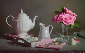 Picture flowers, napkin, style, kettle, cakes, spoon, sugar, roses, vase, tray, still life